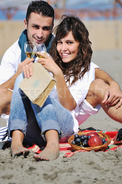 Genieten picknick strand gelukkig goede Stockfoto © dotshock