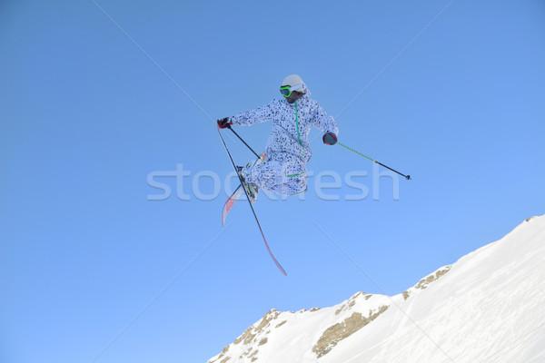 スキーヤー ジャンプ フリースタイル 山 新鮮な 雪 ストックフォト © dotshock