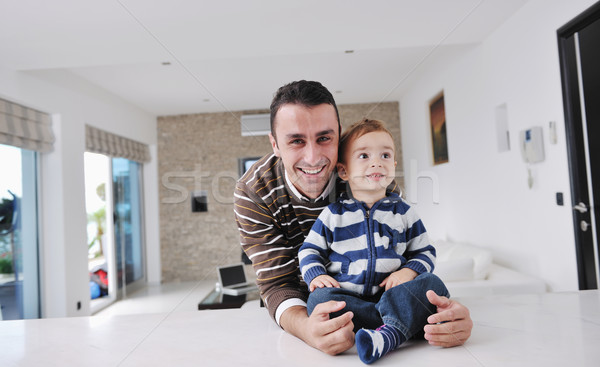 Stock photo: happy father and son together at home