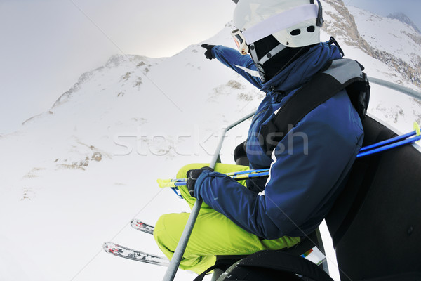 Síel friss hó téli idény gyönyörű napos idő Stock fotó © dotshock