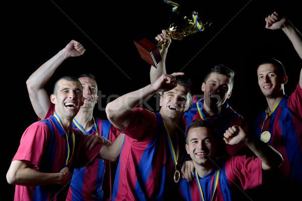 Zdjęcia stock: Piłka · nożna · gracze · zwycięstwo · zespołu · grupy