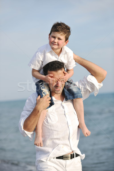 ストックフォト: 幸せ · 父から息子 · 楽しい · 楽しむ · 時間 · ビーチ