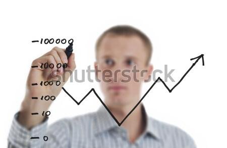 Stock fotó: üzletember · rajz · vonal · diagram · siker · izolált