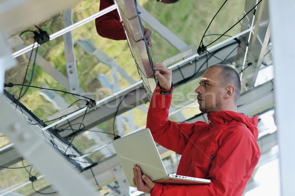 инженер используя ноутбук завода области деловой человек Сток-фото © dotshock
