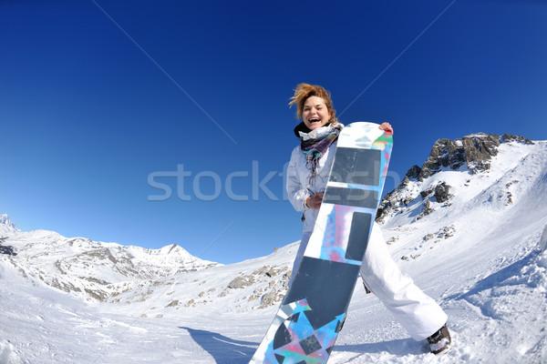 Freude Wintersaison Winter Frau Ski Sport Stock foto © dotshock