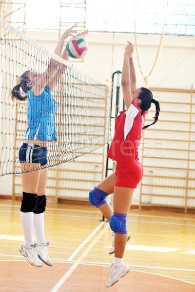 Foto stock : volleyball game sport with group of young beautiful girls ...