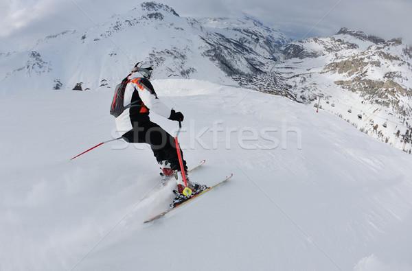 Stockfoto: Skiën · vers · sneeuw · winterseizoen · mooie