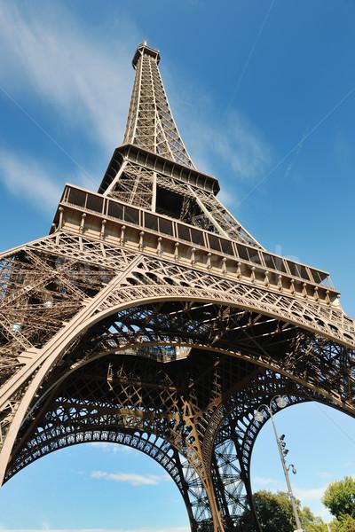 Eyfel Kulesi Paris gün dramatik mavi gökyüzü turist Stok fotoğraf © dotshock