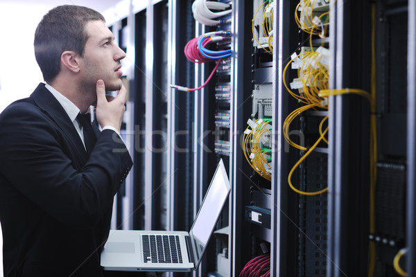 Foto stock: Empresario · portátil · red · servidor · habitación · jóvenes