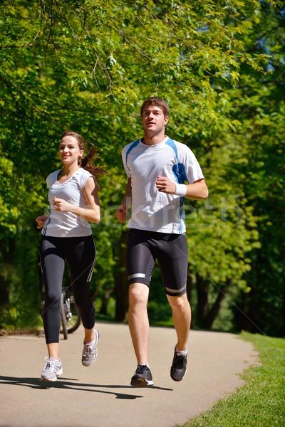 Jogging park ochtend gezondheid fitness Stockfoto © dotshock