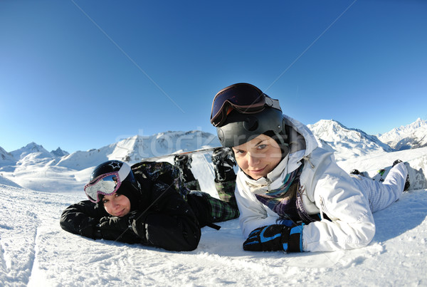 Foto stock: Alegría · temporada · de · invierno · invierno · mujer · esquí · deporte