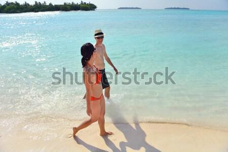beautiful girl on beach have fun Stock photo © dotshock