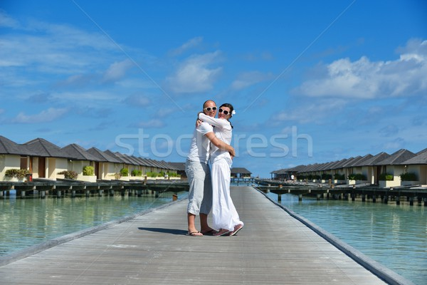 happy young couple have fun on summer Stock photo © dotshock