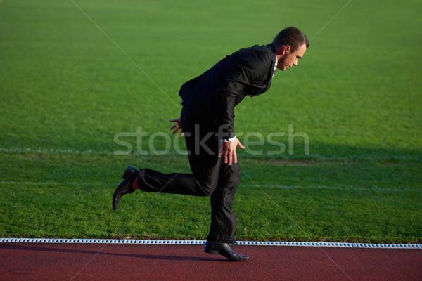 üzletember kész futás kezdet pozició fut Stock fotó © dotshock