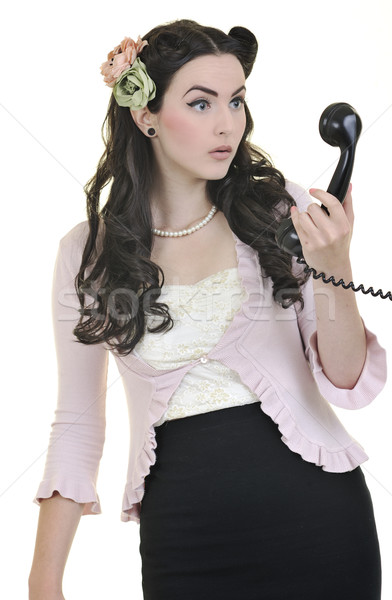 pretty girl talking on old phone Stock photo © dotshock