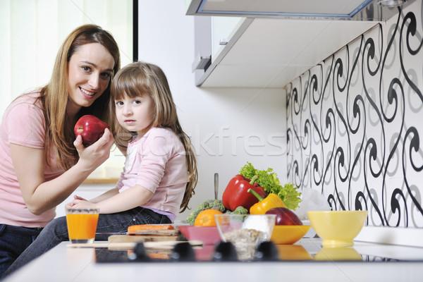 Foto stock: Feliz · filha · mamãe · cozinha · jovem · família