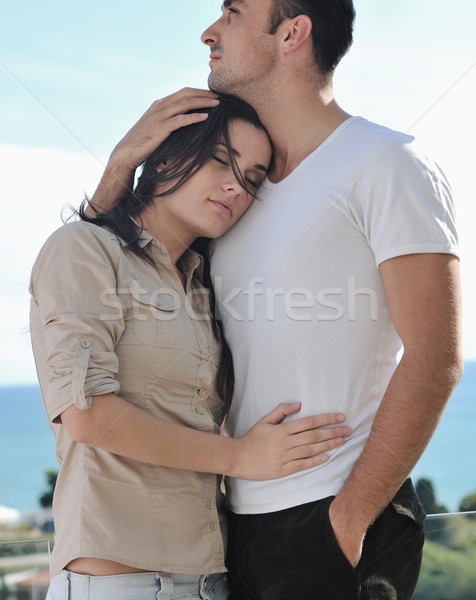 Casal relaxante varanda feliz amor Foto stock © dotshock