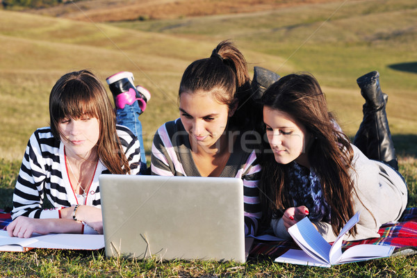 group of teens working on laptop outdoor Stock photo © dotshock