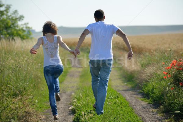 Stock fotó: Boldog · pár · búzamező · fiatal · pér · szeretet · románc
