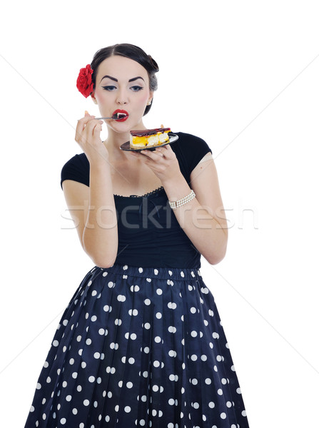 beautiful young woman eat sweet cake Stock photo © dotshock