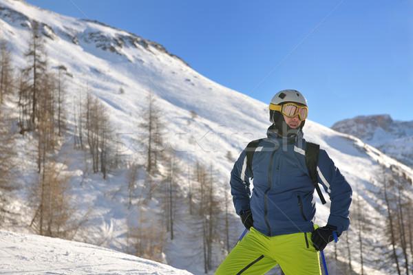 Narty świeże śniegu sezon zimowy piękna Zdjęcia stock © dotshock