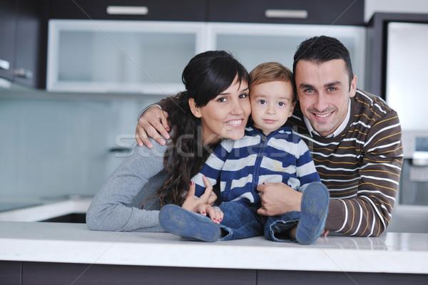 Stockfoto: Gelukkig · jonge · familie · leuk · home · ontspannen