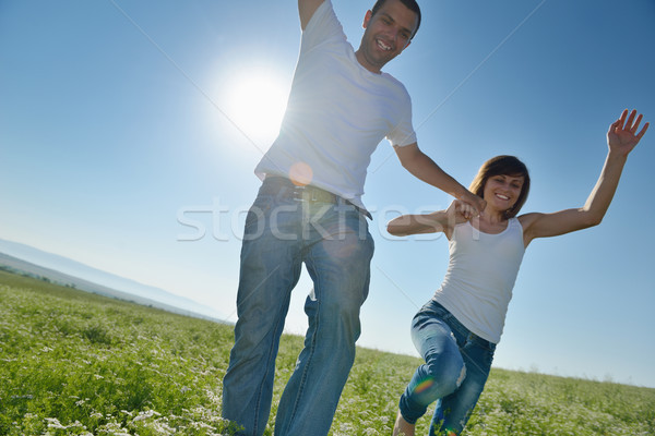 Feliz Pareja campo de trigo amor romance Foto stock © dotshock