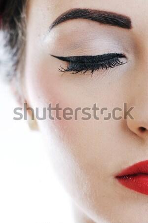 Gyönyörű fiatal nő izolált fehér stúdió öreg Stock fotó © dotshock