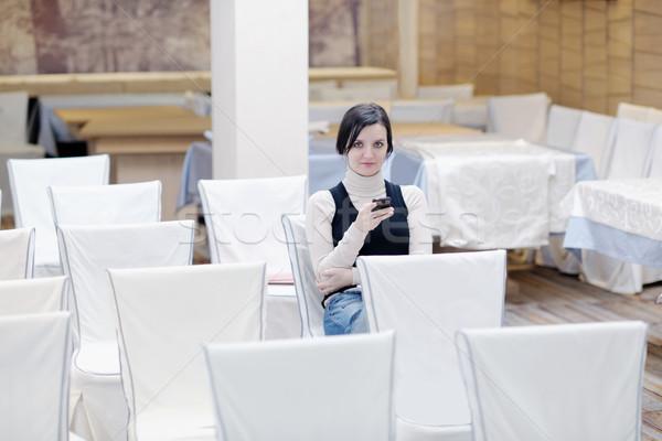 Parlando telefono ritratto seminario Foto d'archivio © dotshock