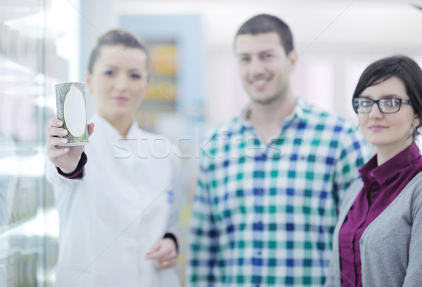 Stock fotó: Gyógyszerész · orvosi · drog · vevő · gyógyszertár · drogéria