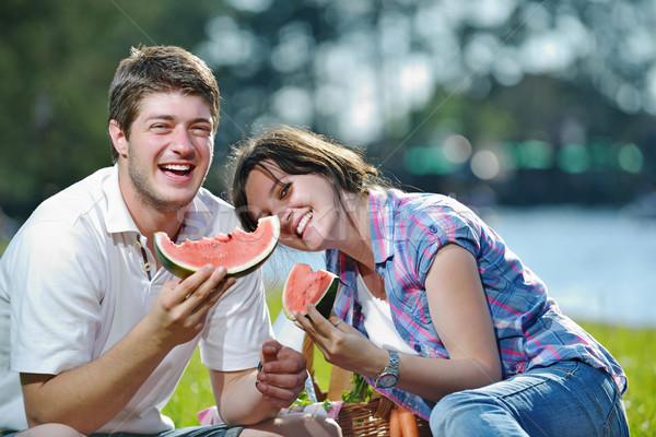 Stockfoto: Gelukkig · picknick · outdoor · jonge · romantische