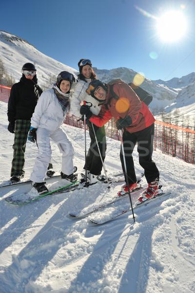 winter portrait of friends at skiing Stock photo © dotshock