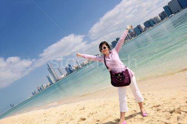 счастливым туристических женщину красивой Дубай Сток-фото © dotshock