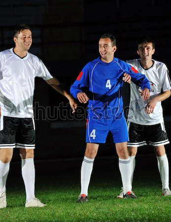 Foto stock: Ação · jogador · de · futebol · chutá · bola · futebol