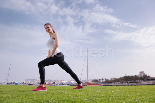 Young beautiful  woman jogging  on morning Stock photo © dotshock