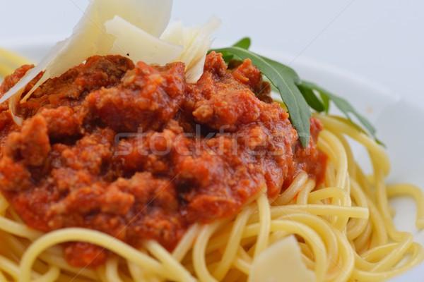 итальянский спагетти соус болоньезе помидоров мяса сыра Сток-фото © dotshock
