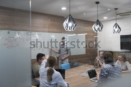 happy young family have fun  with tv in backgrund Stock photo © dotshock