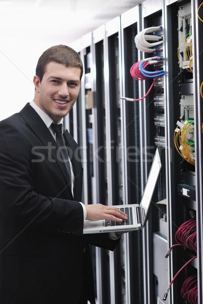 Foto stock: Empresário · laptop · rede · servidor · quarto · jovem