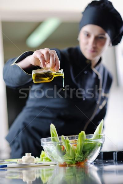 Stockfoto: Chef · maaltijd · mooie · jonge · vrouw · smakelijk
