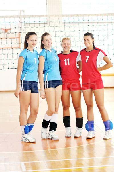 ストックフォト: 女の子 · 演奏 · バレーボール · ゲーム · スポーツ
