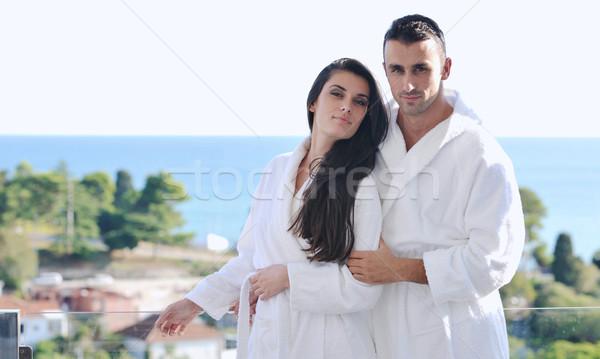 пару расслабляющая балкона счастливым расслабиться Сток-фото © dotshock