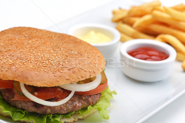 Hamburger stilleven fast food menu frisdrank Stockfoto © dotshock