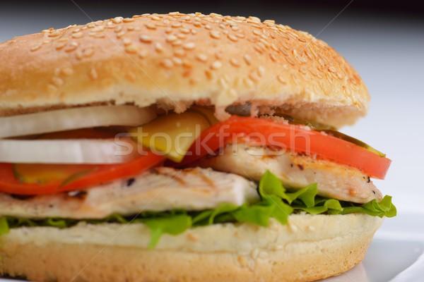 Hamburger natürmort fast-food menü patates kızartması meşrubat Stok fotoğraf © dotshock