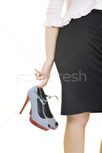 幸せ 若い女性 新しい 靴 孤立した 白 ストックフォト © dotshock