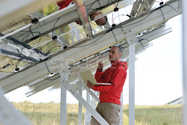 Stock fotó: Mérnök · laptopot · használ · napelemek · növény · mező · üzletember
