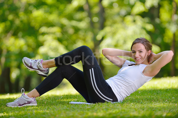 woman stretching before fitness Stock photo © dotshock