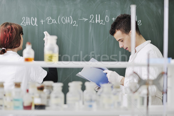 Stock photo: students couple in lab