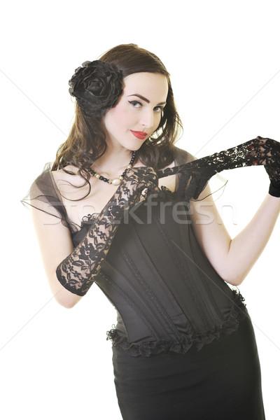 Сток-фото: красивой · молодые · Lady · играть · скрипки · счастливым