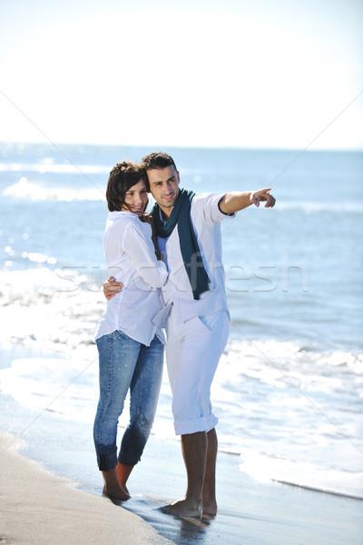 Mutlu eğlence güzel plaj beyaz Stok fotoğraf © dotshock