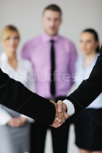 Stock fotó: üzletemberek · csapat · megbeszélés · fény · modern · iroda